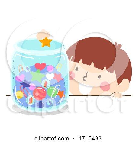Kid Boy Jar Things Illustration Posters, Art Prints