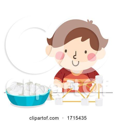 Kid Boy Marshmallow Stick Building Illustration by BNP Design Studio