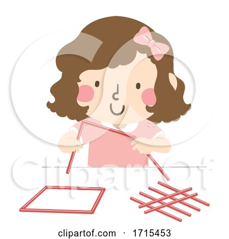Kid Girl Straw Shapes Illustration by BNP Design Studio