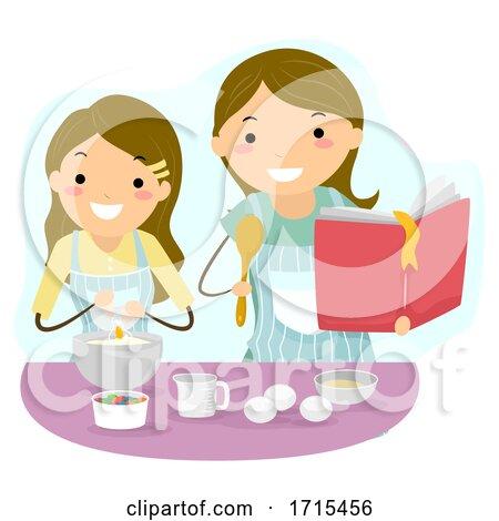 Stickman Teen Girl Mom Baking Bonding Illustration Posters, Art Prints
