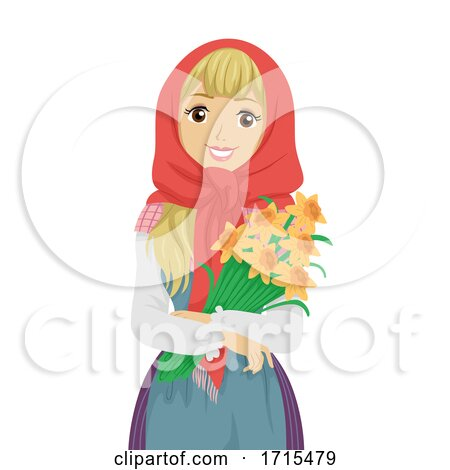 Teen Girl Sweden Easter Witch Daffodils by BNP Design Studio