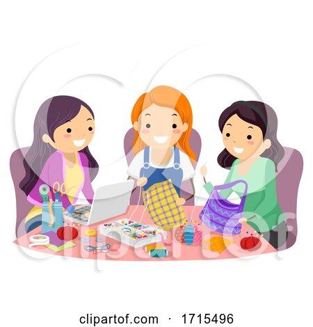 Stickman Teen Girls Friends Arts Crafts Sewing by BNP Design Studio