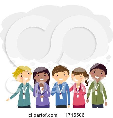 Stickman Teens Intern Thinking Cloud Illustration by BNP Design Studio
