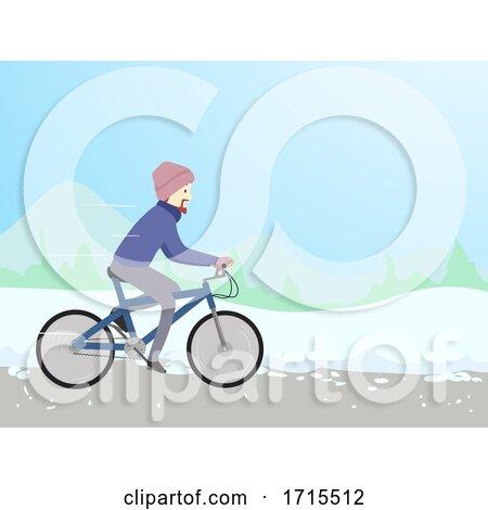 Man Winter Bike Illustration by BNP Design Studio