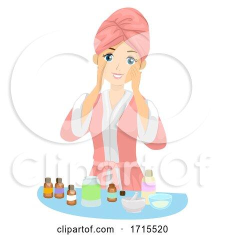 Teen Girl Skin Care Essential Oils Illustration by BNP Design Studio
