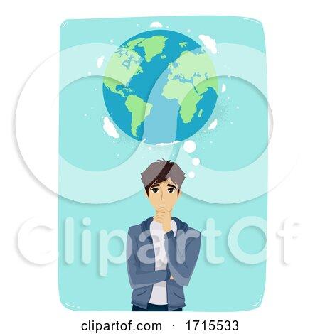 Teen Guy Think Earth Illustration by BNP Design Studio