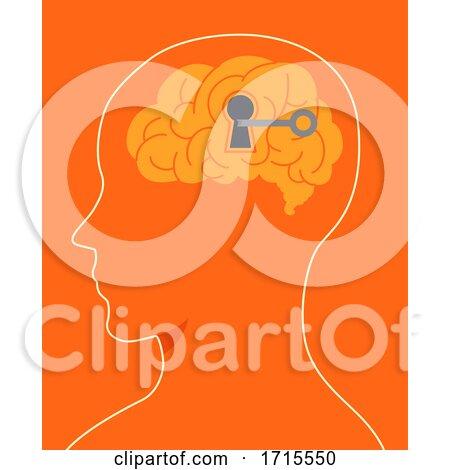 Head Brain Unlock Key Hole Illustration by BNP Design Studio