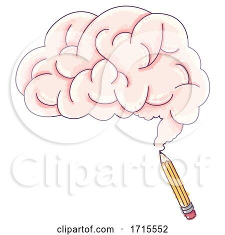 Pencil Draw Brain Illustration by BNP Design Studio