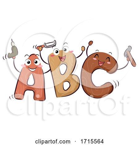 Mascot ABC Woodworking Illustration Posters, Art Prints