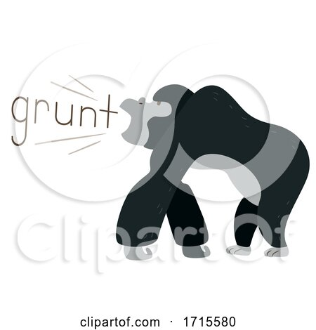 Gorilla Onomatopoeia Sound Grunt Illustration Posters, Art Prints