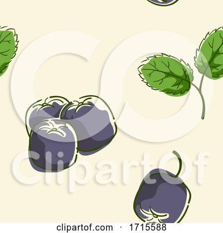 Seamless Acai Berry Background Illustration by BNP Design Studio