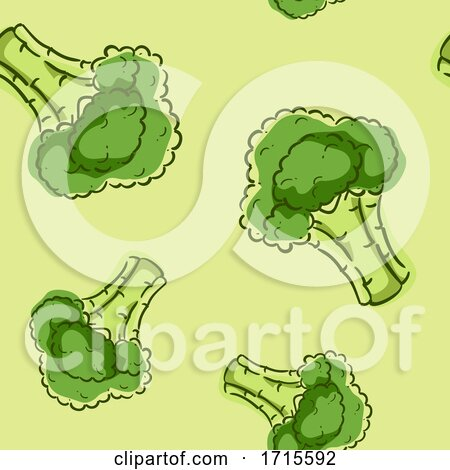 Seamless Broccoli Background Illustration by BNP Design Studio