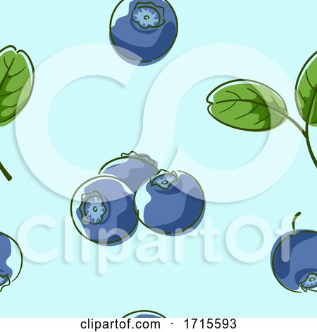 Seamless Blueberries Background Illustration by BNP Design Studio