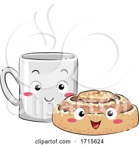 Mascot Coffee Cinnamon Bun Fika Illustration by BNP Design ...