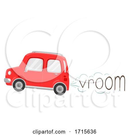 Car Onomatopoeia Sound Vroom Illustration by BNP Design Studio