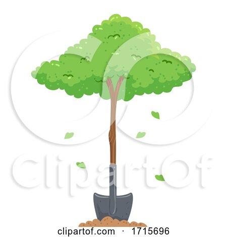 Plant Tree Shovel Arbor Day Illustration by BNP Design Studio