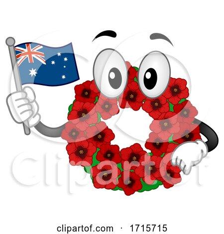 Mascot Poppy Wreath Remembrance Day Illustration by BNP Design Studio