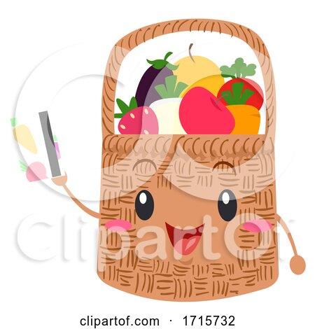 Mascot Basket Fruits Veggies Card Illustration by BNP Design Studio