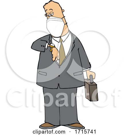 Cartoon Business Man Wearing a Mask and Checking His Watch by djart