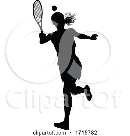Tennis Silhouette Sport Player Woman by AtStockIllustration