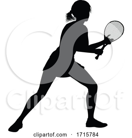 Tennis Silhouette Sport Player Woman by AtStockIllustration
