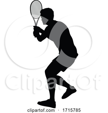 Tennis Silhouette Sport Player Man by AtStockIllustration