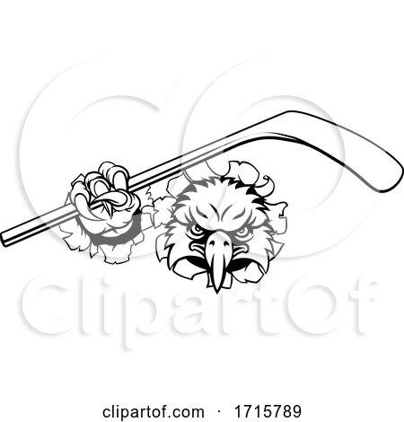 Eagle Ice Hockey Player Animal Sports Mascot by AtStockIllustration