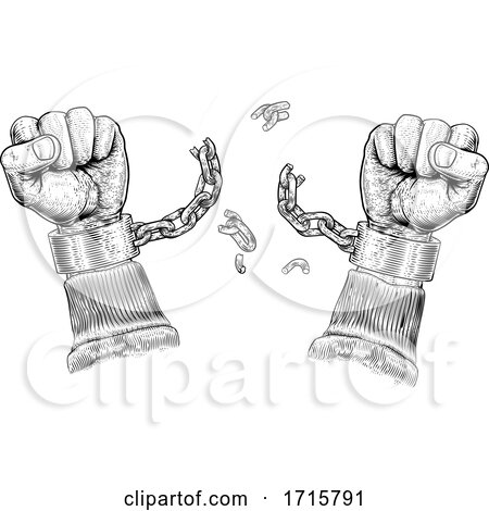 Hands Breaking Chain Shackle Handcuffs by AtStockIllustration