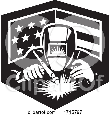 Black and White Retro Welder Working in an American Flag Shield with a Crown by patrimonio