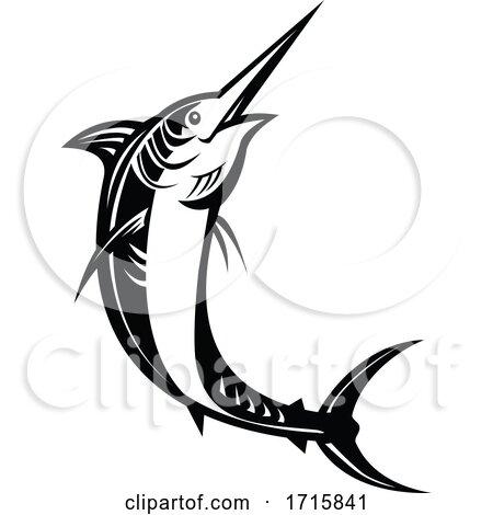 Atlantic Blue Marlin Jumping Retro Woodcut Black and White by patrimonio