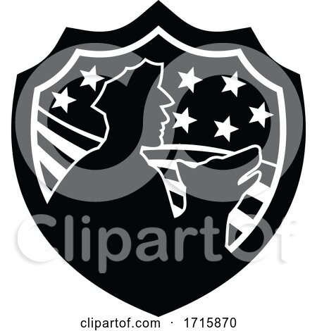 American Security Guard with Police Dog USA Stars and Stripes Badge Black and White by patrimonio