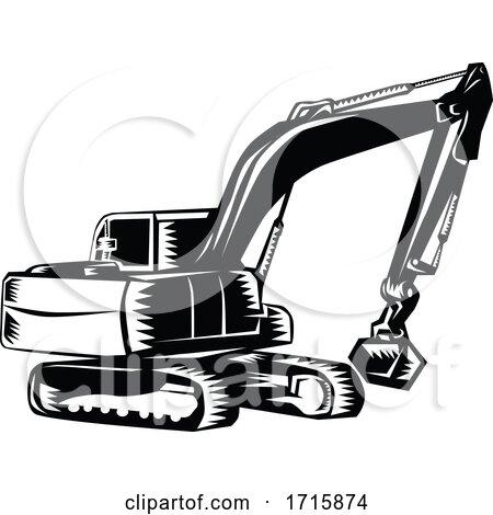 Construction Digger Mechanical Excavator Posters, Art Prints
