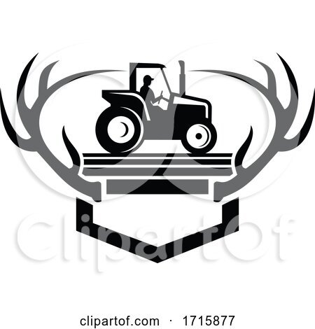 White Tail Deer Antler with Vintage Farm Tractor Side View Retro Black and White Posters, Art Prints