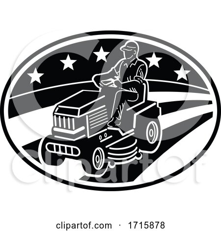 American Gardener Mowing Lawn Ride on Mower Retro Black and White Posters, Art Prints