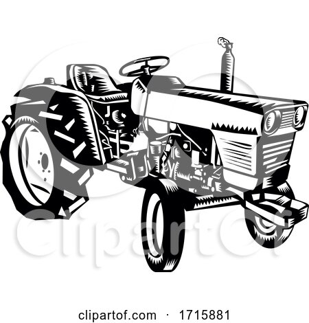 Vintage Farm Tractor Side View Woodcut Black and White Posters, Art Prints