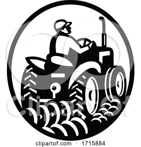 Organic Farmer Plowing Field with Vintage Tractor Oval Retro Monochrome Posters, Art Prints