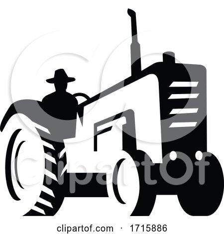 Organic Farmer Driving Vintage Farm Tractor Silhouette Retro Monochrome Posters, Art Prints
