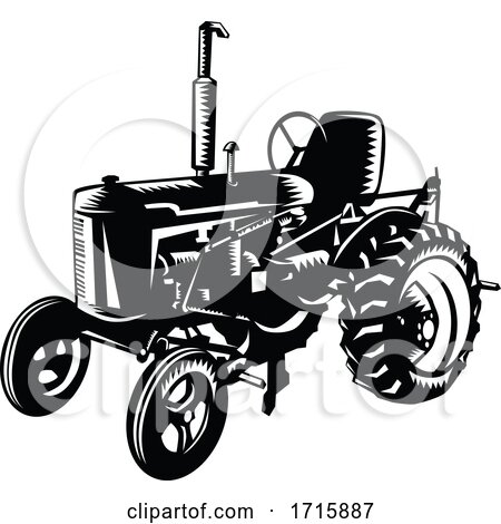 Vintage Farm Tractor Retro Woodcut Black and White Posters, Art Prints
