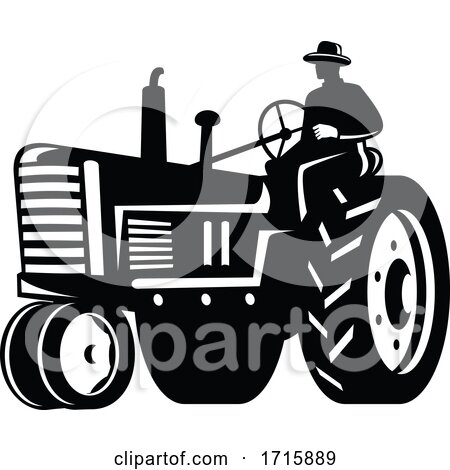Organic Farmer Driving Vintage Tractor Retro Silhouette Black and White Posters, Art Prints