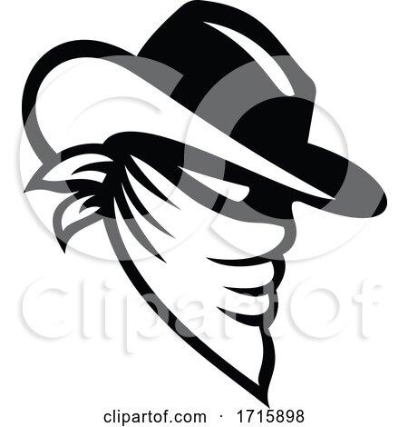 Black and White Cowboy Bandit by patrimonio