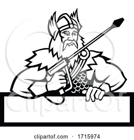 Thor Holding Pressure Washer Wand Mascot Black and White by patrimonio