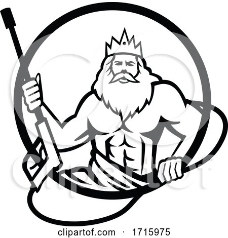 Neptune Holding Power Washer Wand or Water Blaster Circle Retro Black and White Posters, Art Prints