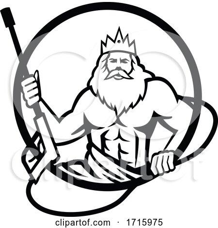 Neptune Holding Power Washer Wand or Water Blaster Circle Retro Black and White by patrimonio