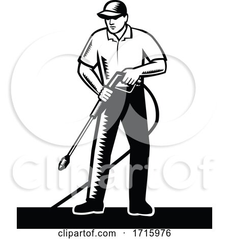 Retro Male Pressure Washer Worker by patrimonio