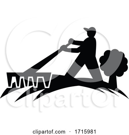 Gardener Landscaper Working with Rake Silhouette Retro Black and White Posters, Art Prints