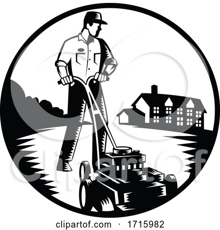 Gardener Mowing with Lawn Mower Woodcut Retro Black and White Posters, Art Prints