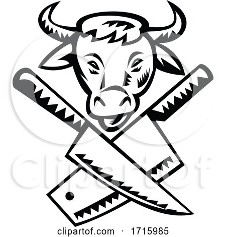 Crossed Butcher Knife with Cow Head Front View Black and White Posters, Art Prints