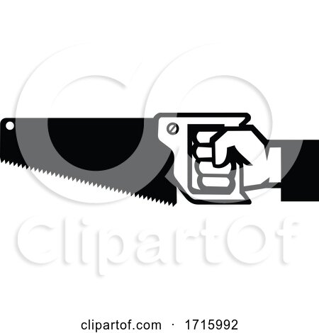 Carpenter Hand Holding Crosscut Saw Side View Icon Black and White Posters, Art Prints