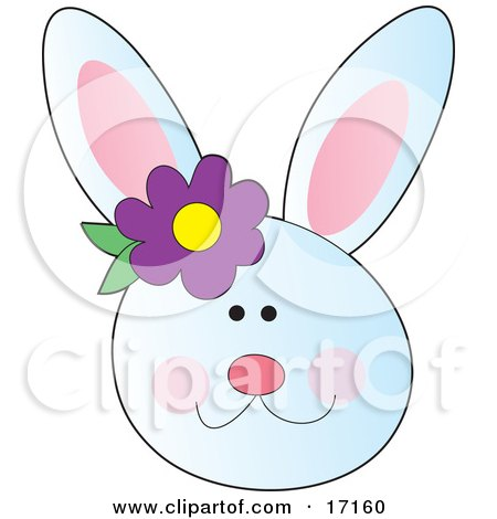 Happy White Bunny Rabbit Face With A Purple Flower By The Ear Clipart Illustration by Maria Bell