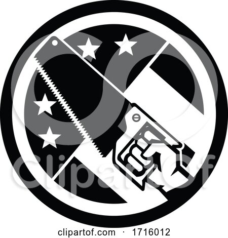 Carpenter Hand Holding Crosscut Saw USA Flag Side Circle Icon Black and White Posters, Art Prints